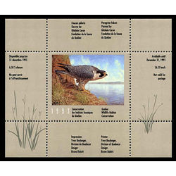 Quebec wildlife habitat conservation stamp qw6 peregrine falcon by ghislain caron 6 1993