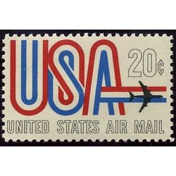 us stamp c air mail c75 usa and jet 20 1968