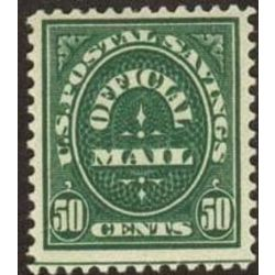 us stamp officials o o122 postal savings 50 1911