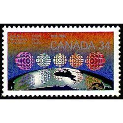 Canada stamp 1103i cbc logo over 5 regions of canada 34 1986