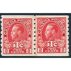 canada stamp mr war tax mr6i war tax coil pair 1916