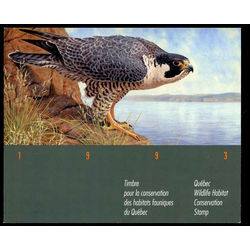 quebec wildlife habitat conservation stamp qw6e peregrine falcon by ghislain caron 1993