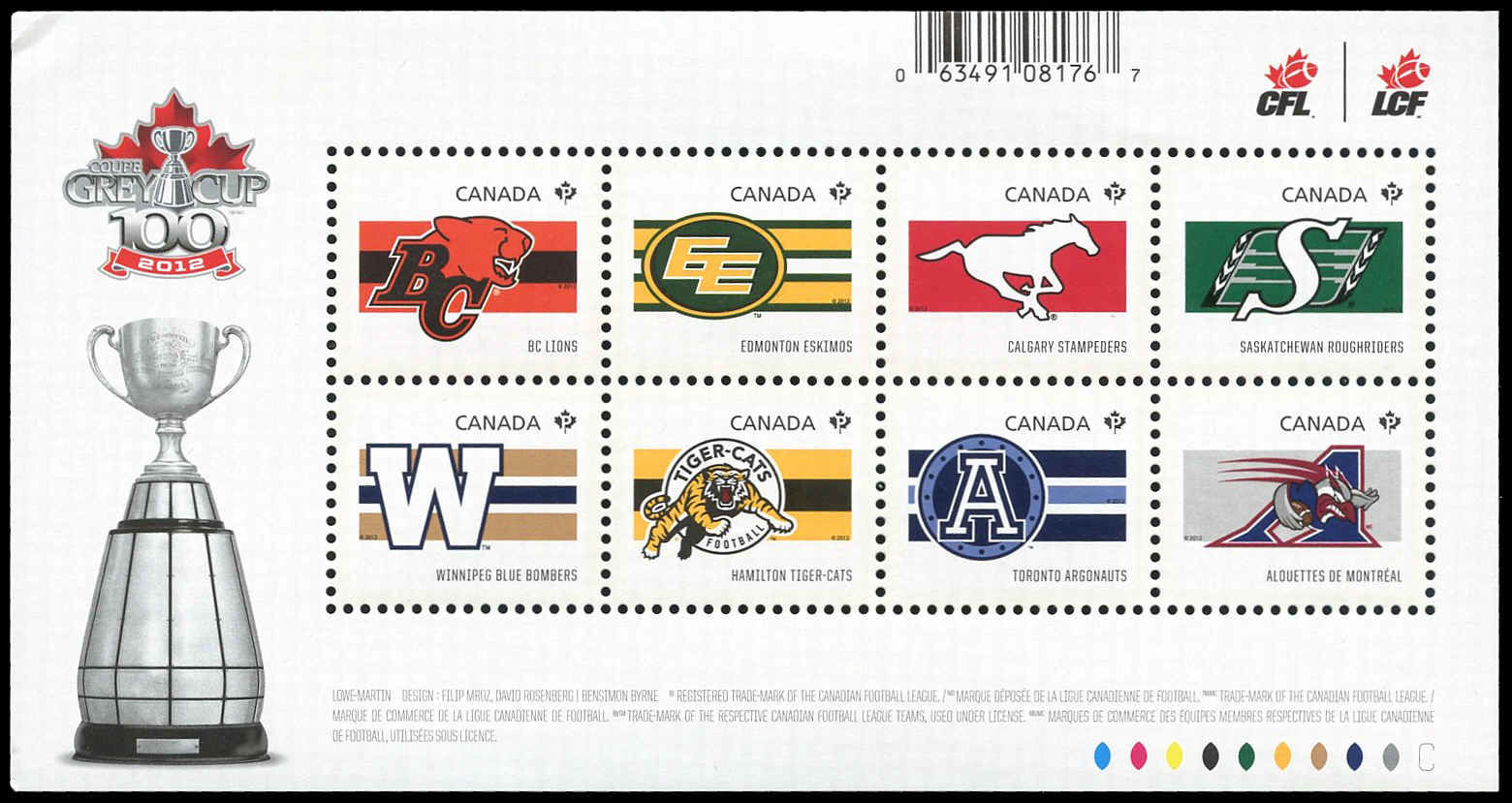 canada stamp 2558 cfl teams 4 88 2012